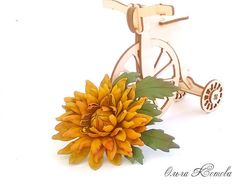 Orange Yellow Dahlia Leather flowers leather by FeltSilkArtGift