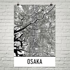 Osaka Map, Osaka Art Poster