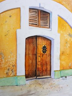 Old wood door, Puerto Rico Old San Juan Fort 9x12 Original by CarlinArtWatercolor Carlin Blahnik.