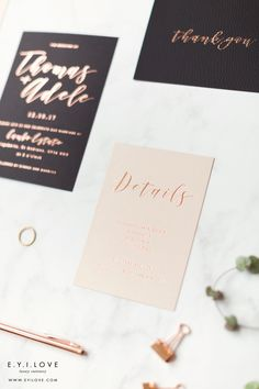Complete with leather style thank you card, all hand foiled in rose gold onto luxurious boards for the perfect wedding invitation suite. Luxury Wedding Invitations, Wedding Invitation Suite, Wedding Stationery, Rose Gold Foil, Adele, Perfect Wedding, Thank You Cards, Wedding Details, Rsvp