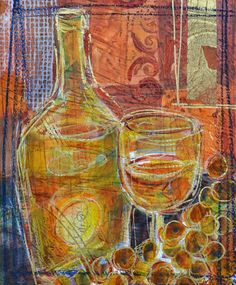 Alborino  Original Wine Painting Collage on Paper by filboothart