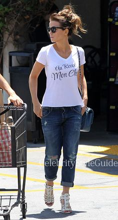 Seen on Celebrity Style Guide: Eliza Graves actress Kate Beckinsale and her husband Len Wiseman out grocery shopping at Gelson's Market in Pacific Palisades, California on June 22, 2014. Len couldn't keep his eyes off his wife, while Kate was wearing a Zoe Karssen �Au Revoir Mon Cheri� T-shirt   Get Her Balenciaga Sandals ON SALE Here: http://rstyle.me/n/khxd2mxbn