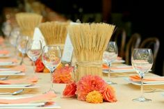 Shavuot table settings with wheat