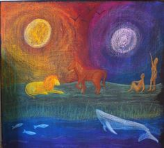 Creation, grade 3, chalkboard at the Waldorf School of Atlanta. Based on a watercolor painting by Dr. Rick Tan.