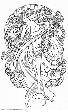love this art nouveau mermaid. half sleeve with reds and turquoise! love this art nouveau mermaid. half sleeve with reds and turquoise! Art Nouveau Tattoo, Tatuaje Art Nouveau, Mermaid Drawings, Mermaid Tattoos, Mermaid Art, Mermaid Paintings, Mermaid Style, Mermaid Coloring Pages, Kunst Tattoos