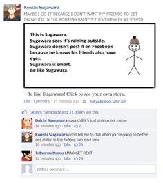 the stupid stuff haikyuu! characters would post & comment if they had fb accounts ~ ( ͡° ͜ʖ ͡°) Daisuga, Iwaoi, Nishinoya Yuu, Kagehina, Kenma, Kuroo Haikyuu, Watch Haikyuu, Haikyuu Funny, Haikyuu Volleyball