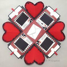 Caixa explosion box romântica (caixa aberta com 4 abas e 4 cards para mensagens)
