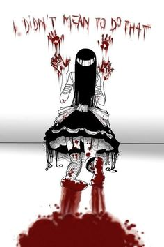 bloody anime Pictures, Images and Photos Did you see that creepy smile? Yandere, Manga Art, Manga Anime, Anime Art, Arte Horror, Horror Art, Dark Anime, Creepy Cute, Scary