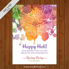 Watercolor holi poster with mandala Creative Poster Design, Creative Posters, Festival Holi, Holi Poster, Celebration Love, Holi Party, Cards On The Table, Happy Holi, Fabric Paper