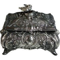 Antique WMF Silvered Trinket Jewelry Box with Bird on a Nest
