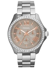 Fossil Womens AM4628 Cecile Multi-Function Beige Dial Stainless Steel Watch