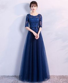 Prom Dress Princess, Blue tulle lace long prom dress, lace evening dress Shop ball gown prom dresses and gowns and become a princess on prom night. prom ball gowns in every size, from juniors to plus size. Pageant Dresses For Teens, Gold Prom Dresses, Elegant Bridesmaid Dresses, Tulle Prom Dress, Elegant Dresses, Tulle Lace, Dress Lace, Prom Gowns, Dresses Dresses
