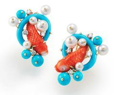 Pair of koi fish earrings, Seaman Schepps. Coral turquoise, pearls and diamonds.    [Via Object-Lesson]