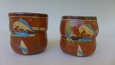 "Pair of vintage Mexican pottery Tlaquepaque redware chocolate mugs cups 3"" tall"