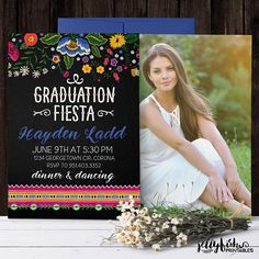 Showcase your favorite graduation photo on this mexican fiesta graduation announcement and graduation invitation in one. College Graduation Announcements, Graduation Photos, Graduation Party Invitations, Graduation Party Decor, Mexican Party, Color Change, Printed, Jw Printables, Cards