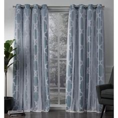 Alegra Layered Geometric Woven Blackout with Sheer Top Curtain panels Turquoise - Exclusive Home, Blue 96 Inch Curtains, Hanging Curtains, Blackout Curtains, Drapes Curtains, Curtain Panels, Living Room Decor Gallery, Window Treatment Store, Curtain Length