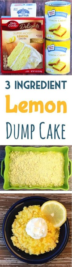 This Lemon Dump Cake is packed with flavor, and always… Simple Lemon Cake Recipes! This lemon dump cake is full of flavor and always a crowd puller. Only 3 ingredients! 3 Ingredient Dump Cake Recipe, Lemon Dump Cake Recipe, Dump Cake Recipes, Lemon Cake Mixes, Lemon Cake With Pudding, Apple Dump Cake With Pie Filling, 3 Ingredient Desserts, Cobbler Recipe, Frosting Recipes