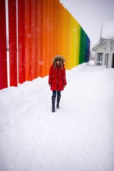 The Saariselka rainbow fence is one of the most colorful visual destinations in Lapland, Finland & was even featured on ABC's hit show, The Bachelor. Finland Facts, Finland Destinations, Finland Culture, Finland Summer, Finnish Language, Finland Travel, Hunter Outfit, See The Northern Lights, Blue City