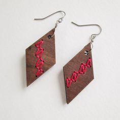 Cranberry and Walnut Earrings Embroidered Wood Dangle Surgical Steel Hooks