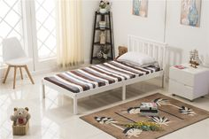 Being highly practical and effective, as well as comfortable and stylish, this single bed frame is made of pine wood and plywood.This solid pine bed is a great value  bed with wooden slats, it comes in Solid Pine with either a White  finish or a natural Pine finish.