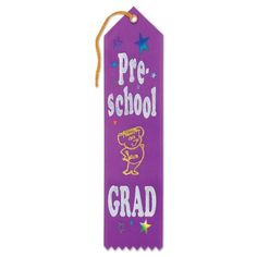 Pack of 6 Purple Pre-School Grad Graduation Award Ribbon Bookmarks 8