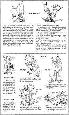 How to start a fire from the 1955 training manual from the Department of the Air Force
