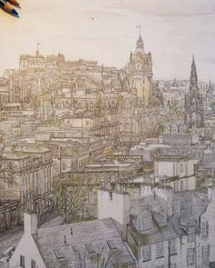 Amazing #architecture #pencildrawing by Steven De Koning (@steven.de.koning.drawings) of a bird's-eye view of Edinburgh Scotland.  Steven did a marvelous job rendering this gorgeous city and the way everything is colored makes it quite a cheery scene to look upon and enjoy. Great piece Steven! ::------:: #pencil #architectural #clocktower #edinburgh #scotland  #woodandgraphite #eraseablepodcast #pencilsketch #architecturedrawing #castle #architecturelovers #cityscape #drawing…
