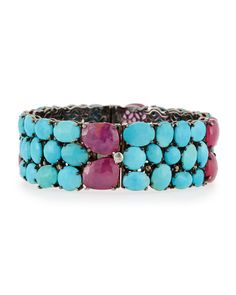 Bavna Turquoise & Diamond Bangle Bracelet GaLil4E