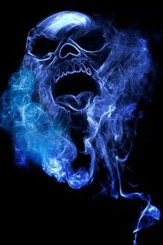 blue smoke skull