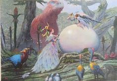 """突然、現れた""""卵""""に森の住民たちは興味津々です。いったい何が起こったのでしょう!<素材>木製ボードにアクリル絵具<作品サイズ>縦:175mm 横:252mm[ボードサイズ]縦:224mm 横:301mm"""