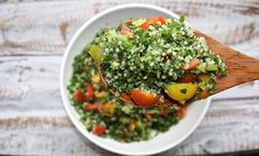 Refreshing lemon dressed kale and tomato salad with a hearty dose of quinoa is a match made in heaven.
