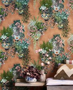 This Cole & Son Wallpaper brings out the Southern Spanish style of ceramics and botanical and makes us wish we were in Spain! Cole And Son Wallpaper, Wall Art Wallpaper, Drapery Hardware, Great Paintings, Fabric Houses, Spanish Style, Houston Tx, Designer Wallpaper, Creative Director