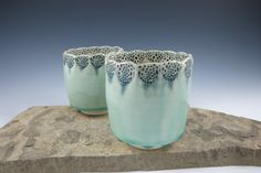 Ceramic Cup Tumbler Yunomi Chawan in Aqua by ShadyGrovePottery $25 Click photo for more info and to purchase.