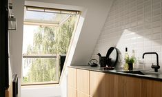 The VELUX CABRIO® balcony opens in seconds to give your loft space a place in the sun. The innovative balcony adds air, light and a great view. Windows, Velux, Home Remodeling, Roof Window, Home, Interior, Velux Skylights, Narrow Kitchen, Loft Spaces