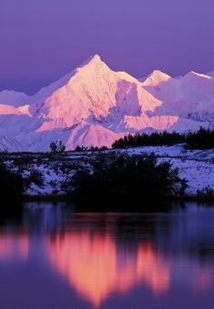 Pink alpenglow on the snow covered mount Brooks (left) of the Alaska Range mountains. reflection in reflection pond, Denali National Park, Alaska. Beautiful World, Beautiful Places, Places To Travel, Places To Go, Landscape Photography, Nature Photography, Alaska Travel, Alaska Usa, Nature Photos