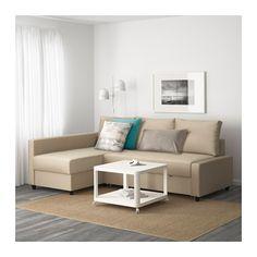 349 € IKEA FRIHETEN Kampinė sofa-lova - Skiftebo smėlinė, - - IKEA