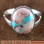 Native American Navajo Jewelry Ribbon Rock Turquoise Sterling Silver Ring $35.99
