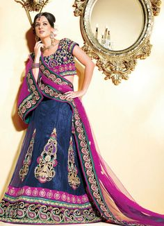 www.amouraffairs.in Indian Bride Lehenga gold border zari zardozi Navy Blue Lehenga Choli Set (AMD704B) - OnlineDesignerStore.com $230