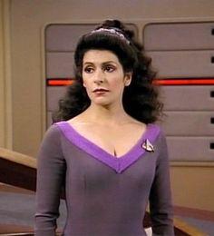 Original Deanna Troi (Marina Sirtis) Starfleet purple v-neck jumpsuit Marina Sirtis, Star Trek Enterprise, Star Trek Voyager, Deanna Troi, Star Trek Characters, Movie Characters, Space Outfit, Star Trek Original Series, Star Trek Universe