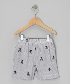 Take a look at this Gray Stripe Seersucker Skull Swim Trunks - Infant, Toddler & Boys by Cruz Swimwear on #zulily today!