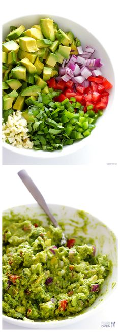 Italian Guacamole -- fresh basil is the rockstar of this delicious twist on classic guacamole | gimmesomeoven.com #appetizer