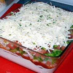 Layered Seafood Dip. One of my favorites that I forgot about! Instead of baby shrimp, I use plump/fresh shrimp, chopped.