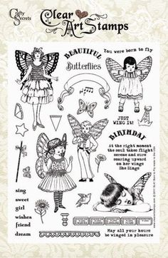 Born To Fly SL41 Clear Art Stamps Vintage Set. $19.99, via Etsy.
