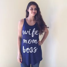 "Plus Size ""Wife Mom Boss"" Tank Plus Size NWOT ""Wife Mom Boss"" Tank/Tunic.  Price firm unless bundled.                                                      ▪️95% Rayon 5% Spandex.                                  ▪️Hand wash.                                                        ▪️Made in the USA🇺🇸!                                          🚫Trades Boutique Tops Tank Tops"