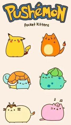 What's better than pusheen and Pokemon? A combination of pusheen and pokemon. Kawaii Drawings, Cute Drawings, Chat Pusheen, Chibi, O Pokemon, Pokemon Jigglypuff, Pokemon Pocket, Pokemon Comics, Bulbasaur