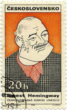 Czechoslovakia, Postage stamp featuring the American writer Ernest Hemingway. via Postcards from Colorado Ernest Hemingway, Six Word Memoirs, Art Postal, Postage Stamp Collection, Six Words, Postage Stamp Art, Stamp Printing, Love Stamps, Vintage Stamps