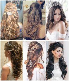 Penteados para Debutantes | Buffet Tulipas - Espaço para casamento e eventos em geral Debut Hairstyles, Best Wedding Hairstyles, Fancy Hairstyles, Bride Hairstyles, Braids For Long Hair, Long Curly Hair, Curly Hair Styles, Bridesmaid Hair, Prom Hair