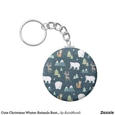 Cute Christmas Winter Animals Rustic Pattern Keychain Keychains, Create Your Own, Cool Designs, Rustic, Personalized Items, Cool Stuff, Winter, Cute, Pattern