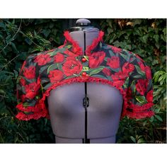 tulip fitted shrug with red lace bolero jacket by dashAclothing, £29.99