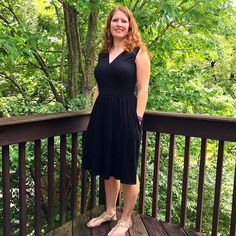 Love my Colette Wren pattern! Made a classic little black dress version in a jersey knit with the sleeveless top and full skirt. Made arm bands this time which got rid of the gaping, :).